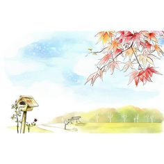 Romantic idyllic autumn scene illustration painting ❤ liked on Polyvore featuring sketches, backgrounds, illustrations, drawing and drawings