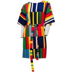 Preowned 70s Marimekko Printed Dress With Sash ($425) ❤ liked on Polyvore featuring dresses, multiple, zip front dress, preowned dresses, marimekko, zipper front dress and sash dress