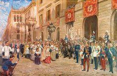 La procesión de Corpus Christi (1944) - Sainz de la Maza. -------------------https://es.pinterest.com/favillana/tableaux-messes-et-processions/