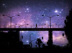 "San Francisco. City Photo. Starry Night Photo. ""Night Walk"" 8.5x11inch Photo. Surreal. Stars. Night Sky. Urban. Purple. black. silhouette.. $24.50, via Etsy."
