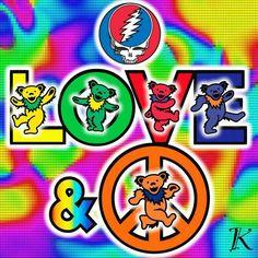 Love and Peace Grateful Dead Quotes, Grateful Dead Tattoo, Grateful Dead Poster, Grateful Dead Dancing Bears, Hippie Peace, Hippie Art, Hippie Chick, Peace Sign Art, Peace Signs