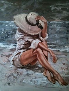 Under my hat sea sand light original oil painting gift palette knife by monika luniak Oil Painting Abstract, Abstract Canvas, Watercolor Art, Canvas Art, Knife Painting, Abstract Portrait, Painting Canvas, Acrylic Paintings, Woman Painting