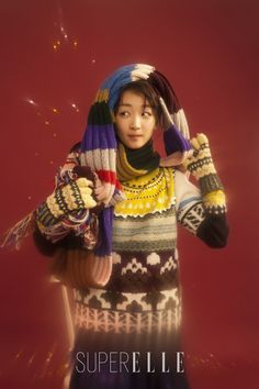 Zhou Dongyu wears Burberry knits in Elle China's SuperELLE Winter issue
