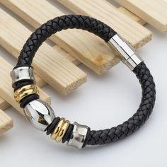 New Arrived Fashion Genuine Leather Men's Bracelets Strand Stainless Steel Classic Charm Brand Bracelets Pulseras . - gold black
