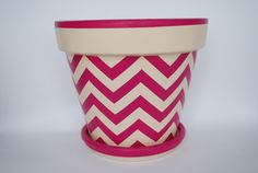 Chevron hand painted flower pot in Brilliant by ThePottedGarden, $35.00