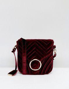 77ab2fa11b90  56 - Glamorous Quilted Velvet Ring Detail Cross Body Bag - Cart by  Glamorous