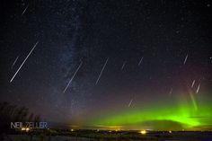Geminid Meteor Shower And Aurora Borealis, Calgary Region, Alberta, Canada