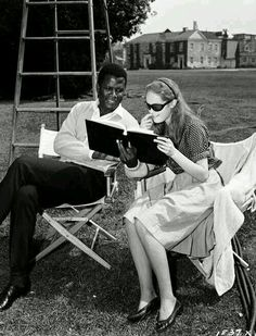 "Director Guy Greene's ""A Patch of Blue"" (1965). Lead actors  Sidney Poitier and Elizabeth Hartman shown."
