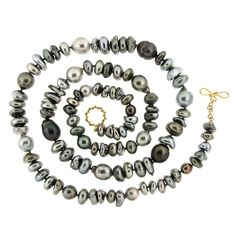 Keshi Pearl and Baroque Tahitian Pearl Multicolor Necklace | From a unique collection of vintage beaded necklaces at https://www.1stdibs.com/jewelry/necklaces/beaded-necklaces/