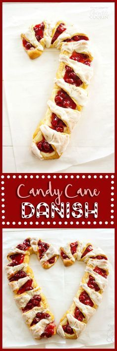 Make a beautiful candy cane shaped danish this Christmas! So easy and fun!