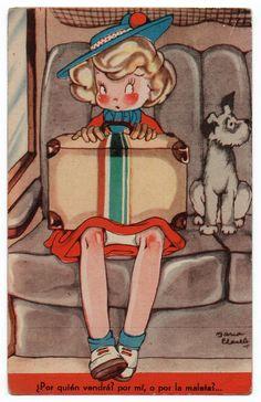 Vintage postcard by Maria Claret, Mari Pepa series