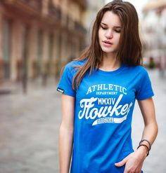 camiseta chica flowker original azul 1