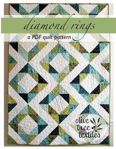 PDF quilt pattern // diamond rings