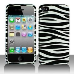 Amazon.com: Premium - Apple iPhone 4 Silver/Black Zebra Cover - Faceplate - Case - Snap On - Perfect Fit Guaranteed: Electronics