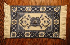 Artisan Made Micro Petit Point Blue and White Oriental Rug