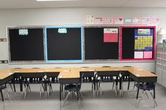 Bulletin boards and seating arrangement