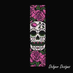 Sugar Skull - Loom Bracelet Cuff Pattern | DebgerDesigns - Patterns on ArtFire