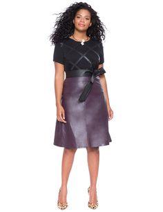 Front Vent Faux Leather Skirt Garnet