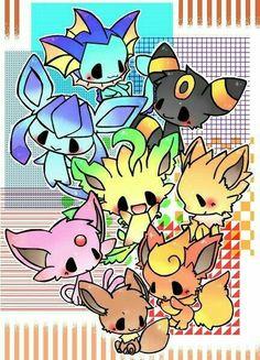 Eevee evolutions, Flareon, Jolteon, Glaceon, Leafeon, Umbreon, Espeon, Vaporeon, cute, chibi; Pokémon