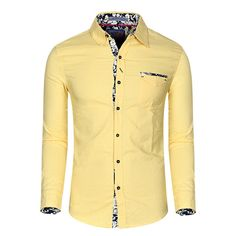 Designer Casual Bussiness Embroidery Design Solid Color Long Sleeve Dress Shirts for Men - NewChic Mobile