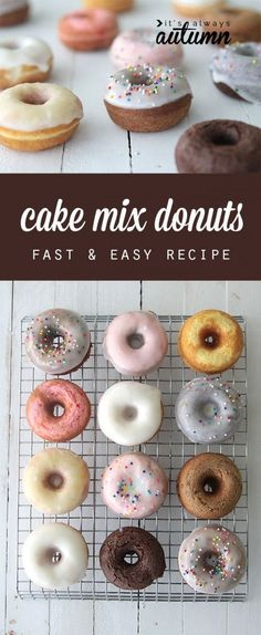 great idea! you can use a cake mix to make quick & easy donuts in any flavor with this simple recipe. baked not fried! Easy Cake Recipes, Cake Decorating, Donuts, Birthday Cake, Fries, Easy Meals, Simple, Canning, Beignets