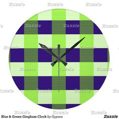 Blue & Green Gingham Clock