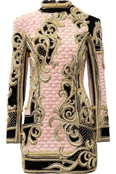 Embellished quilted velvet mini dress by Balmain - handmade pearl, clear crystal and gold thread work and bead embellishment