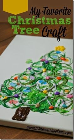My favorite Christmas Tree Craft! I love this process Christmas art where kids will use 3 different techniques together to make a beautiful Christmas craft for kids. This is great for preschool, kindergarten, 1st grade, 2nd grade, 3rd grade, (Christmas, Christmas craft for kids, Christmas kids activities)