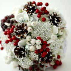 Winter Brooch Bouquet Cones Berries Bridal by JewelryBouquet