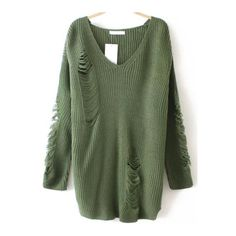 SheIn(sheinside) Army Green V Neck Ripped Sweater (€23) ❤ liked on Polyvore featuring tops, sweaters, sheinside, sweaters/sweatshirts, green, pullover sweater, olive green top, olive green sweater, army green sweater and loose pullover sweater