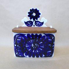 Items similar to Arabia Köökki Cobalt Blue Salt Box Vintage Floral on Etsy