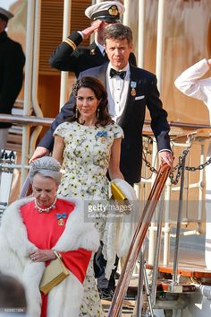 Crown Princess Mary Of Denmark and Crown Prince Frederik of Denmark are seen leaving the yacht ' Dannebrogen ' for the 70th birthday of King Carl Gustaf of on April 30, 2016 in Stockholm, .