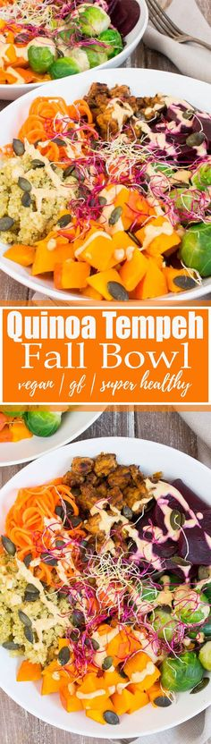 This vegetarian quinoa tempeh bowl with Brussels sprouts and pumpkin is the ultimate fall recipe! It's vegan, gluten-free, and SO healthy! It makes such an awesome vegan lunch or dinner! Find more vegan recipes at veganheaven.org
