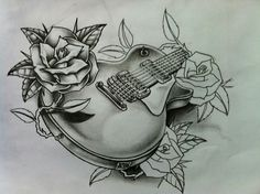 Guitar and roses tattoo
