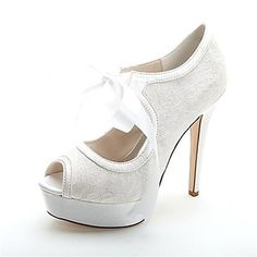 Women's Shoes Platform Peep Toe Stiletto Heel Lace Pumps with Lace-up Wedding Shoes More Colors available – GBP £ 29.19