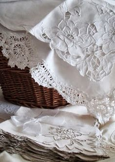 antique linens, for my antique bed