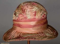 Both silk over straw w/ narrow oval brims & woven silk labels: 1 embroidered allover w/ pale blue, celery & pink ribb. Flapper Hat, Historical Clothing, Historical Costume, Clothing And Textile, Horse Hair, Pink Silk, Vintage Accessories, Pretty In Pink, Pink Flowers