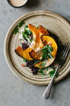 Sarah B's Roasted Pumpkin with Black Rice & Tangerine Tahini Sauce | My Darling Lemon Thyme