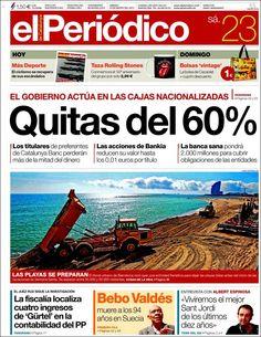 Los Titulares y Portadas de Noticias Destacadas Españolas del 23 de Marzo de 2013 del Diario El Periódico ¿Que le parecio esta Portada de este Diario Español?