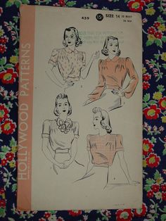Vintage Pattern 1940's Hollywood No459 Blouses by auntnonniesnest