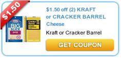 $1.50 off (2) KRAFT or CRACKER BARREL Cheese