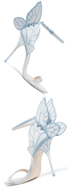 Sophia Webster - Chiara Patent-leather Sandals - Blue. Sophia Webster is loved for her fun and whimsical designs. Re-imagined in a white and sky-blue palette, these 'Chiara' sandals are cut from patent-leather and detailed with screen-printed butterfly wings. Perfect for brides, they're finished with 'Wifey For Lifey