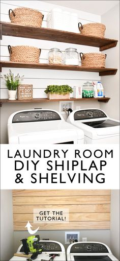 DIY Laundry Room Shiplap and Shelving - How to Nest for Less™
