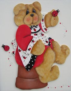 URSA JOANINHA Debbie Mitchel Design Arte Country, Pintura Country, Bear Crafts, Diy Crafts, Craft Projects, Projects To Try, Craft Ideas, Teddy Bear Pictures, Tole Painting Patterns