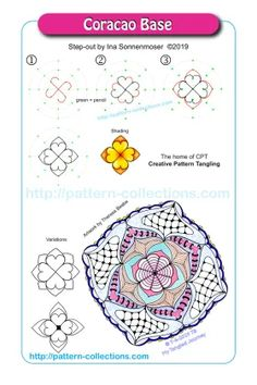 Zen Doodle Patterns, Zentangle Patterns, Tangle Doodle, Tangle Art, Zentangle Drawings, Doodles Zentangles, Easy Zentangle, Zen Art, Learn To Draw