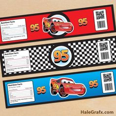 FREE Printable Disney Cars lightning McQueen Water Bottle Labels