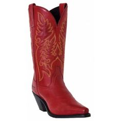 Laredo Ladies' Madison Cowboy Fashion Boots in Burnished Red LeatherBurnished Red Leather Foot11 Inch Burnished Red TopPointed Snip 4 ToeHigh Fashion HeelCushion InsoleLaredo Flex OutsoleIf you are a Footloose fan ladies, here is the boot that made the big screen. If she can rock this Burnished Red boot, you can to. It f...