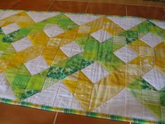 Spring Green and Yellow Quilted Table Runner by LASEWS on #etsy #quilt #spring