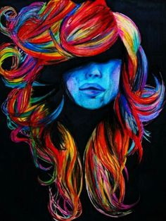 Very Colorful hair painting. gunna do something like this