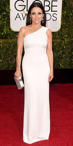 Golden Globe Awards 2015: Arrivals : People.com - Julia Louis-Dreyfus, in custom Narciso Rodriguez, with Irene Neuwirth jewels